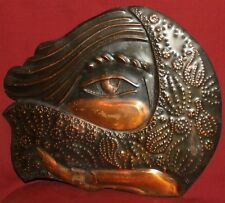 Vintage hand made abstract wall hanging copper plaque eye