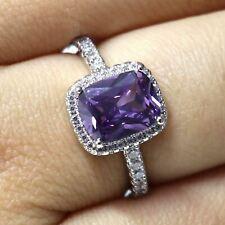 2.20Ct Cushion Cut Amethyst Diamond Halo Engagement Ring 14K White Gold Finish