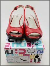 NU BY NEO WOMEN'S RED WEDGED HEEL OPEN TOE SHOES SIZE 7 AUST 38 EUR