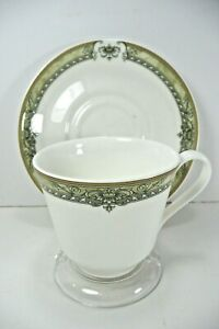 ROYAL DOULTON CUP AND SAUCER GREEN FINE CHINA MADE IN ENGLAND BEAUTIFUL