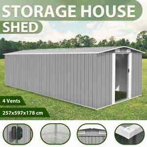 vidaXL Garden Shed Metal Grey Outdoor Patio Storage House Garage Building