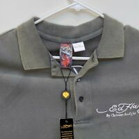 Ed Hardy Mens Graphic Rhinestone Polo Shirt Large