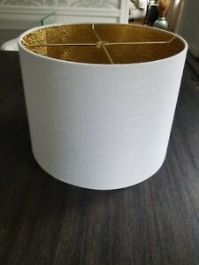 Two White Linen Drum Lampshades - New, Modern and Stylish