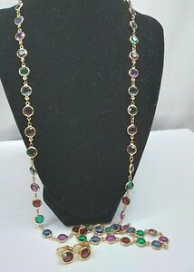 "Signed SWAROVSKI Swan GOLD Tone BEZEL Jewel Tone Crystal 36"" Necklace Earrings"