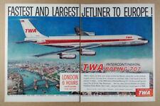 1959 TWA Intercontinental Boeing 707 Jet london scene art vintage print Ad
