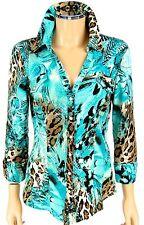 CACHE Snaps Blouse SIZE MEDIUM Aqua Blue Leopard Animal Print Glitter Shirt Top