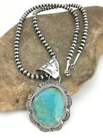 "MENS Navajo Blue Kingman Turquoise Sterling Silver Necklace Pendant 2.75"" 4903"