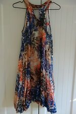 WISH CAMPARI 100 % SILK MIDI DRESS,ASYMMETRICAL BUBBLE HEM,LINED,FLORAL,10,$159