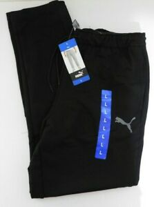 PUMA Mens Tapered Joggers French Terry Pants Size LARGE Black  NEW