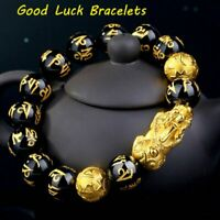 Feng Shui Black Obsidian Stone Beads Wealth Bracelet Gold Pixiu Charms Wirstband