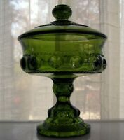 Indiana Colony Glass Green Kings Crown Footed Candy Dish Compote with Cover