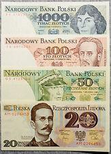 Set of 4 Poland 1980's 20, 50, 100 & 1000 Zl. Au-Unc.
