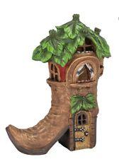 Hand Painted Boot Fairy House Solar LED Light Garden Ornement