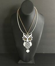 Vintage Articulated Owl Necklace//Large White Owl