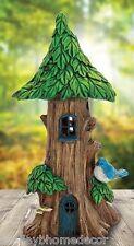 Solar Light Tree Trunk House Miniature Garden w blue bird figure NEW mg10802