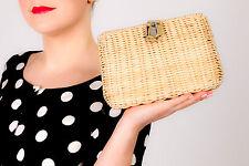 50s 60s vintage cream woven plastic wicker basket weave bag - rockabilly pin-up