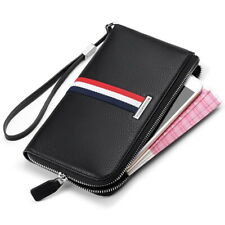 Luxury Leather Striped Clutch Wallet Coin Cash Cards Holder Fashion Men Purse