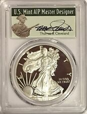 2017 W PROOF SILVER EAGLE PCGS PR70 DCAM T. CLEVELAND FIRST DAY OF ISSUE POP 500