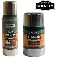 2PC STANLEY CLASSIC FOOD & FLASK VACUUM BOTTLE SET HOT COLD GREEN NEW THERMOS
