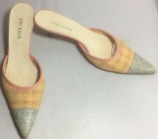 Pre-Loved Prada Straw Crocodile Kitten Heel Mules 37.5 HTF  Box And Dustbag
