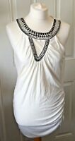 Ladies Star By Julien Macdonald Cream Long Top Studded Neckline Size 14 B1