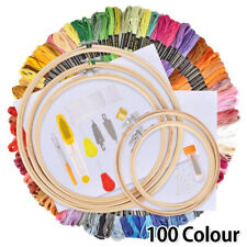 100 Color Starter Cross Stitch Embroidery Thread Hoop Kit Skeins Diy Tool Fabric