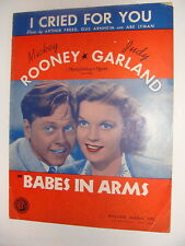 Judy Garland Babes in Arms I Cried for You sheet music Mickey Rooney