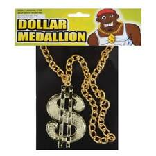 ** GOLD DOLLAR MEDALLION  ADULT FANCY DRESS NOVELTY  NEW ** MENS LADIES