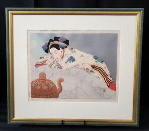 Paul Jacoulet Original Framed Woodblock Print ~ Fumees de Santal 1948