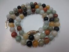 Vintage Multi Color Jade Bead Necklace Silver Clasp 8.25 mm 21.5""