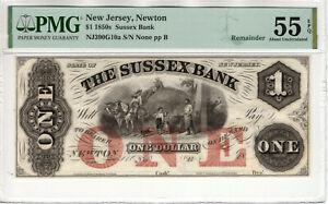 1850 $1 SUSSEX BANK NEWTON NEW JERSEY OBSOLETE REMAINDER NOTE PMG AU 55 EPQ
