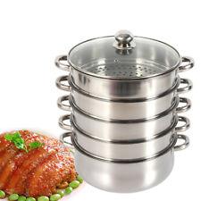 5 Cacerolas para cocinar al Vapor 26/28/30 cm,Acero Inoxidable cocción al Vapor