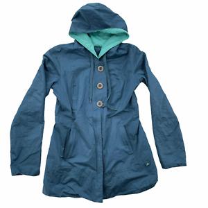 Prana Women's Small Blue Abby Water Resistant Hooded Rain Jacket Pockets