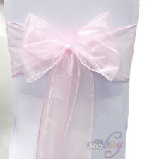 100PCS Organza Chair Cover Sash Tie Bows Wider Fuller Wedding Party Decoration