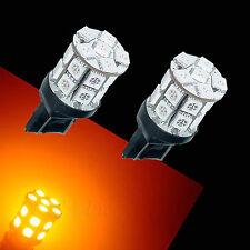 2x 7443 T20 W21W 20 SMD 5050 LED CAR Auto Backup Side Stop Tail Light Bulb Amber