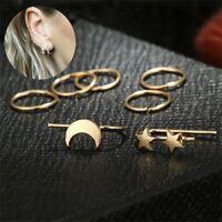 7PCs/Set Minimalist Punk Tiny Moon Earrings Set Star Ear Stud Jewelry Hoop