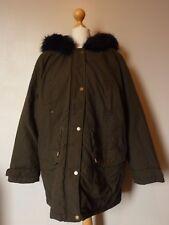 "so Fabulous Faux Fur Hooded Coat Size 22 Length 34"" Green UK FREEPOST"