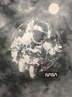 NASA Astronaut T Shirt M Slim Fit Gray Blue Tie Dye Stretch In Space Mens