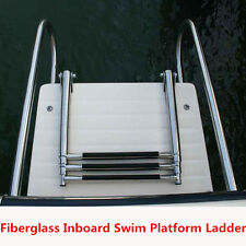White Boat Inboard Swim Platform Ladder Stainless Rails 3 Step Telescop Ladder