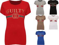 Women's Ladies Guilty  Designer Casual Top  Slogan Striped T- Shirt PLUS SIZE