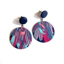 Large Abstract Earrings Art Jewelry Big Blue Purple Stud Retro Round Earrings