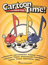 """CARTOON TIME!"" 19 THEME SONGS FOR BIG-NOTE PIANO-MUSIC BOOK-BRAND NEW ON SALE!!"