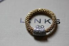 Genuine Links of London Star Dust Yellow Gold Vermeil Barrel Ring Size P - BNIB