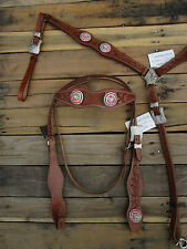 WESTERN HEADSTALL BREASTCOLLAR RED PINK SHOW PLEASURE LEATHER HORSE BRIDLE TACK