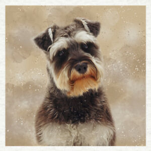 Dog-Schnauzer Portrait- Fabric Craft Panels in 100% Cotton or Polyester