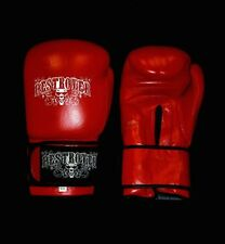 16oz Red Leather Destroyer Muay Thai boxing gloves
