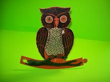 "Vintage Halloween Diecut Winking Owl Tab Stand Up Display 9.5"" Paper Decoration"