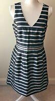 J Crew Striped Jacquard Dress Sz 6 Sleeveless V Neck Black Silver Fit Flare  NWT