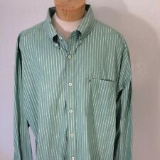 "IZOD, Mens Shirt L/S Green Striped Button 100% Cotton Size L "" Logo Pocket"""