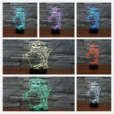 3d Pumpkin People Table Lamp Acrylic LED 7 Colors Changing USB Night Light Kid